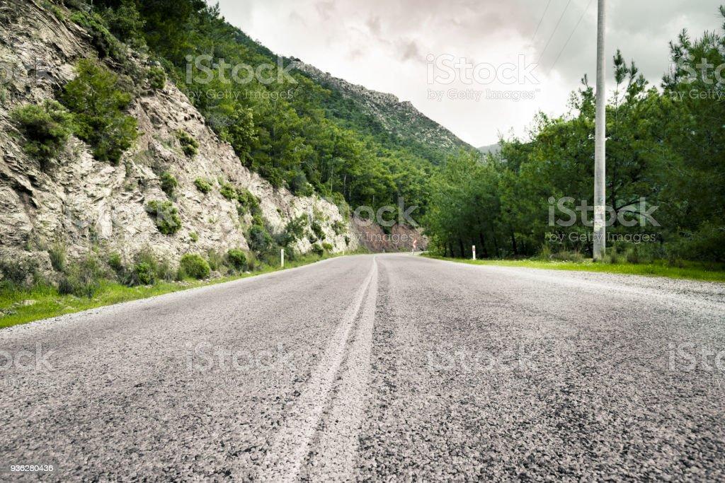 Asphalt road in the mountains, Turkey stock photo