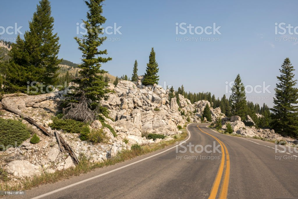 asphalt road in Yellowstone National Park in Wyoming