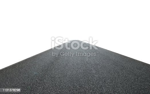 Infinity center straight perspective asphalt road isolated on white background with clipping path.Straight asphalt road isolated on white background with clipping path.
