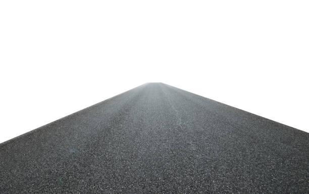 asphalt road isolated on white background - asfalto foto e immagini stock