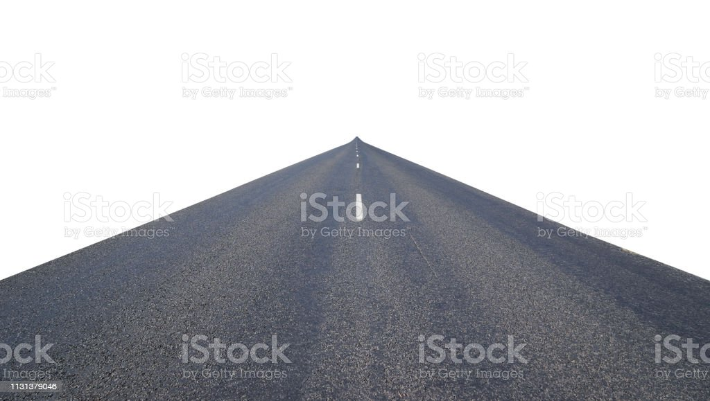 Infinity center straight perspective asphalt road isolated on white...