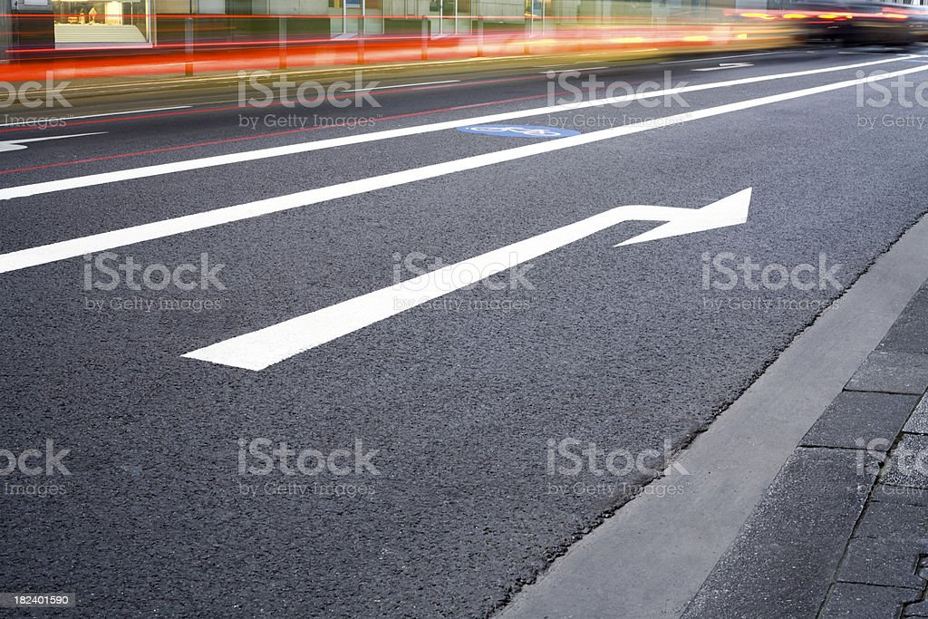 Asphalt, road marker - cars in blurred motion royalty-free stock photo