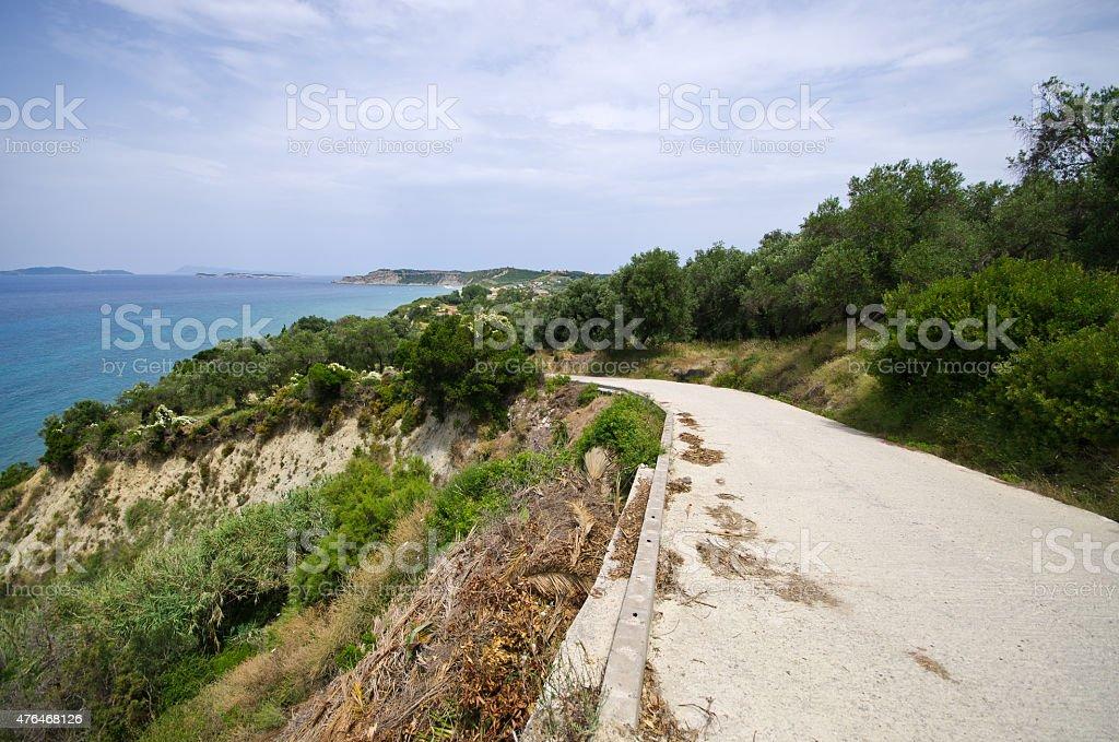 Asphalt road on Corfu island, Greece stock photo