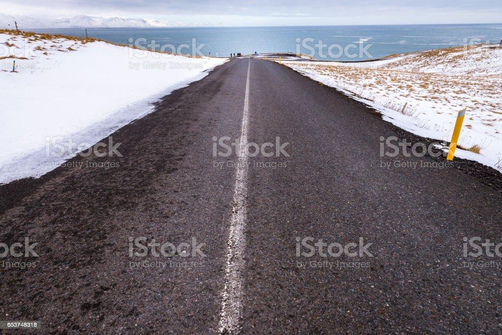 Asphalt road on Snaefellsnes peninsula, Iceland stock photo