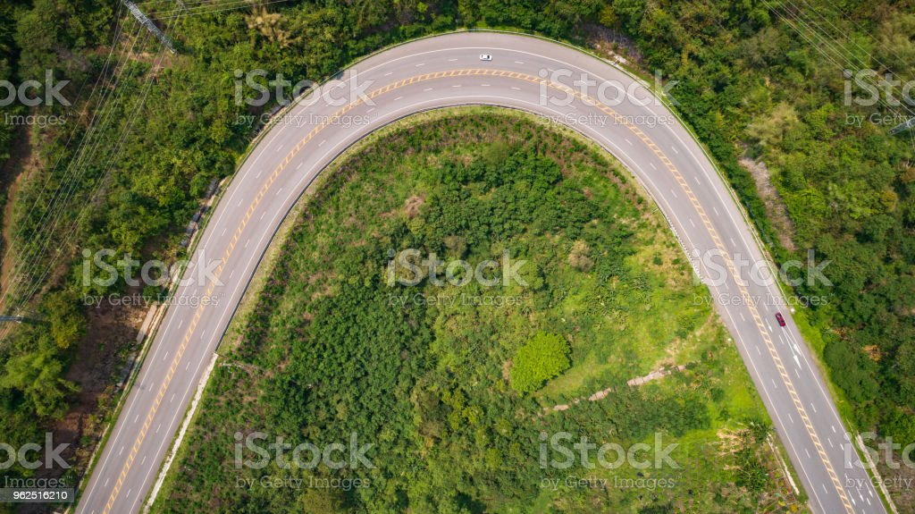 Asphalt road on the hill in Phetchabun province, Thailand. Aerial view from flying drone. - Royalty-free Asphalt Stock Photo
