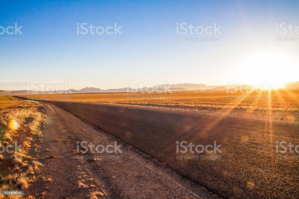Asphalt Road Through Steppe stock photo