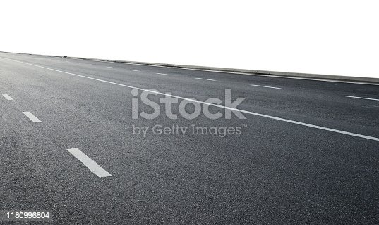 Asphalt road view from side isolated on white background with clipping path.