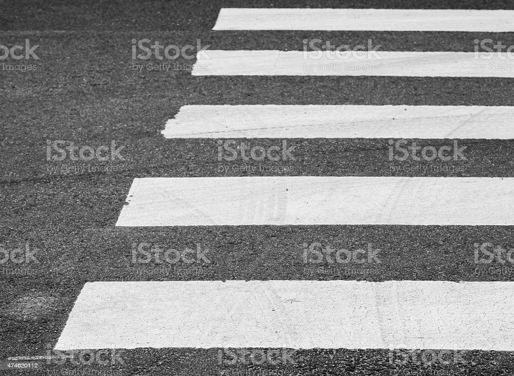 Asphalt road with pedestrian crossing road marking stock photo