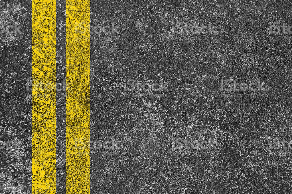 Asphalt road with yellow line stock photo