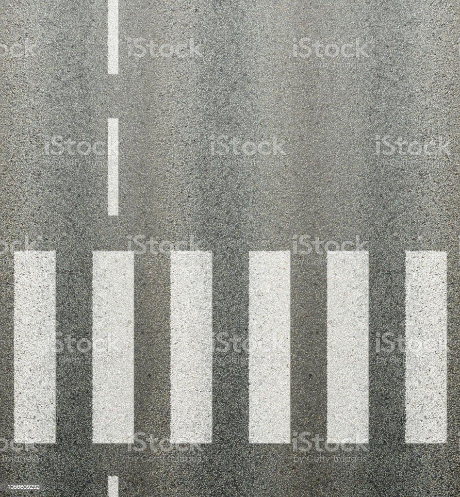 Asphalt road zebra crossing, middle line road marking stock photo