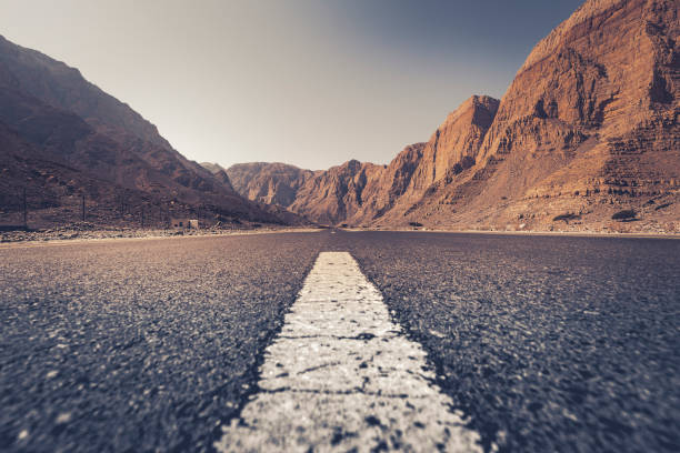 asphalt roads, sultanate of oman stock photo