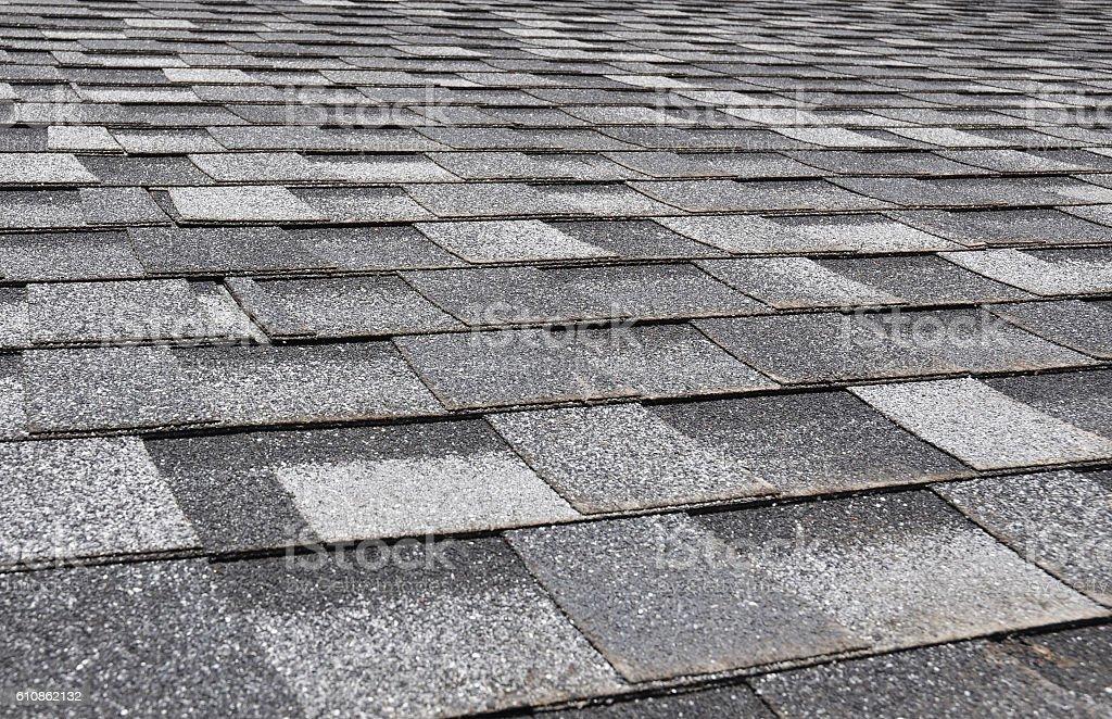 Asphalt Roofing Shingles Background. Roof Shingles - Roofing. stock photo