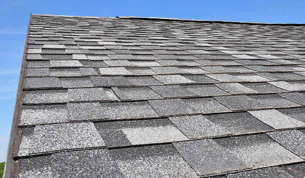 Asphalt Roofing Shingles. Roof View. stock photo