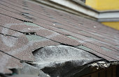 Damage to asphalt and asbestos shingles, gutter systems, chimney and roof flashing on residential home