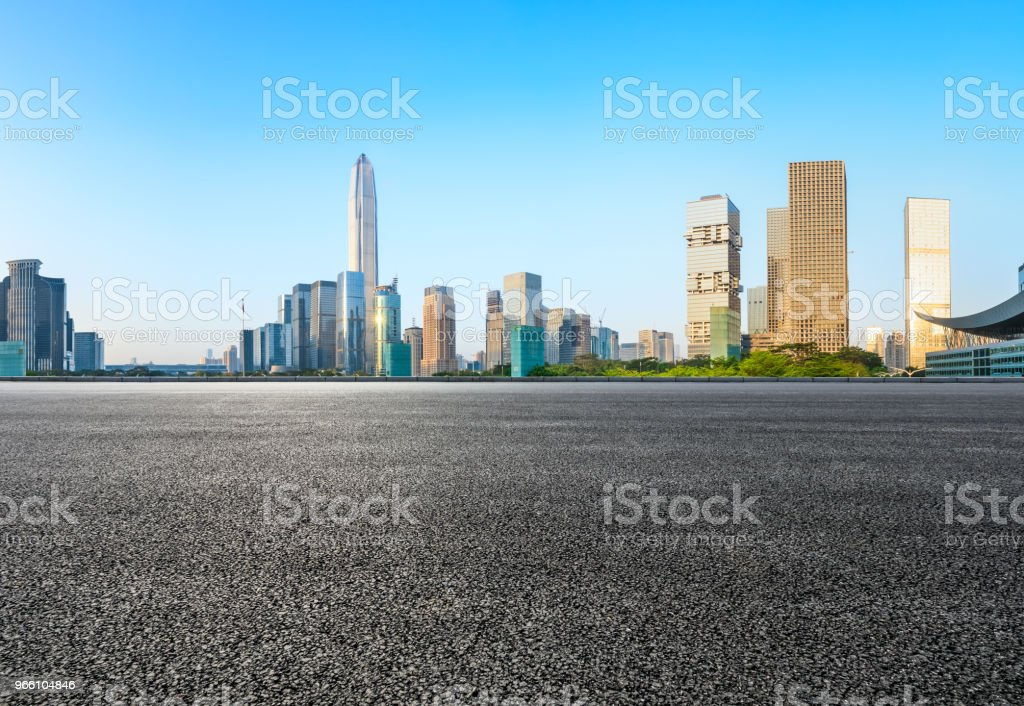 Asphalt square road and modern city skyline in Shenzhen - Royalty-free Architecture Stock Photo