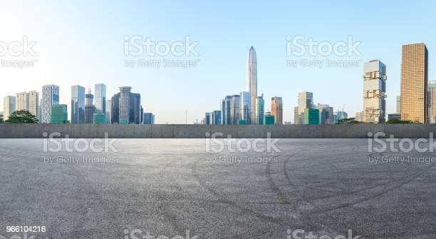 Fyrkantig Asfaltvägen Och Moderna City Skyline Panorama I Shenzhen-foton och fler bilder på Arkitektur