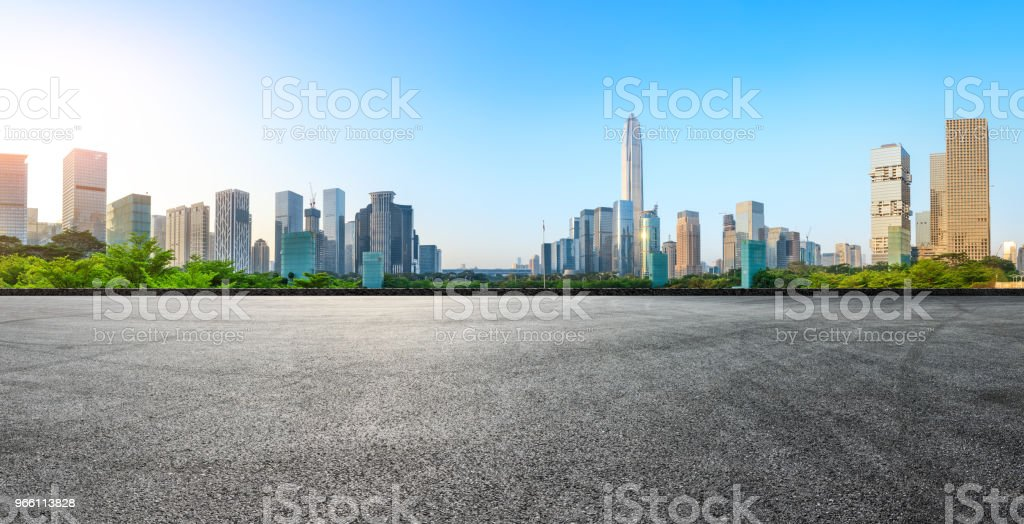 Asphalt square road and modern city skyline panorama in Shenzhen - Royalty-free Architecture Stock Photo