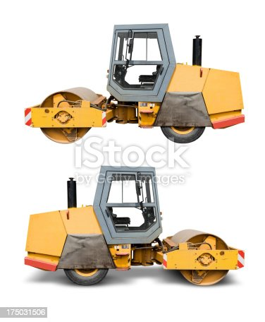 Asphalt steam roller, side view, isolated on white with clipping path for your convenience. The shadow of the lower version is not included in area enclosed by clipping path.