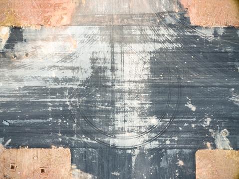 aerial view asphalt tarmac pavement cross section with tireimprint