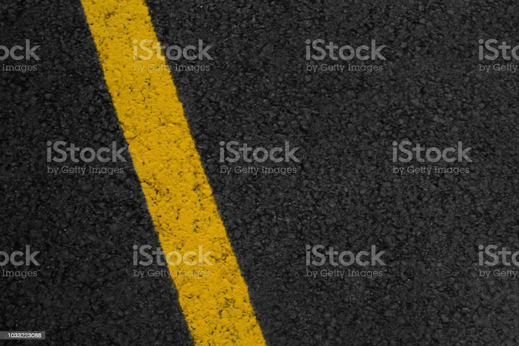 Asphalt Texture With Yellow Striped Stock Photo & More Pictures of