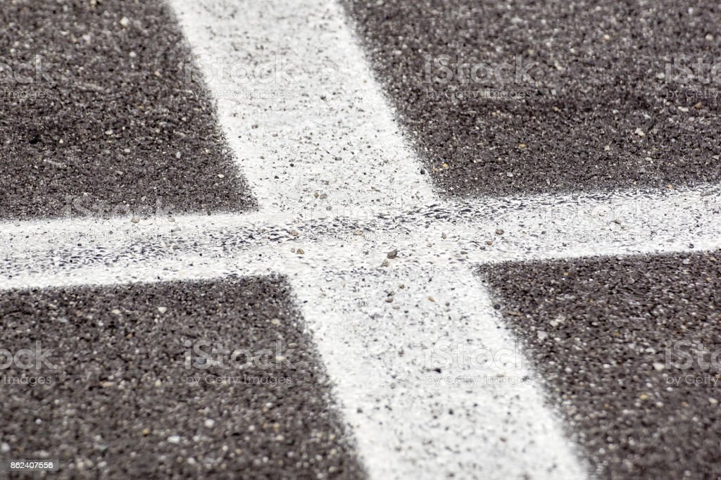 Asphalt with cross stripe white line in prespective stock photo