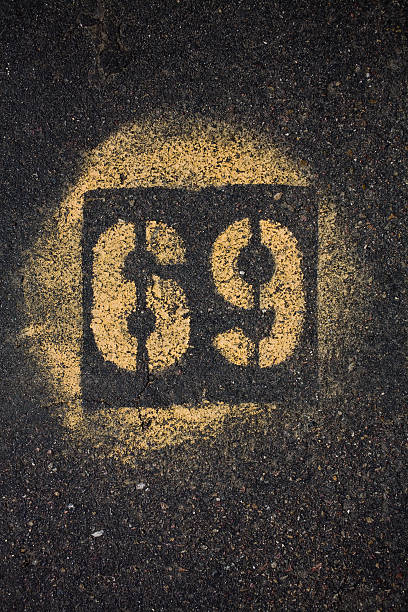 asphalt with number 69 - number 69 stock photos and pictures
