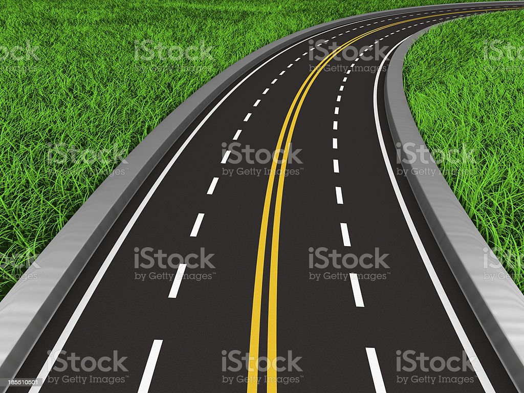 asphalted road on grass. Isolated 3D image royalty-free stock photo