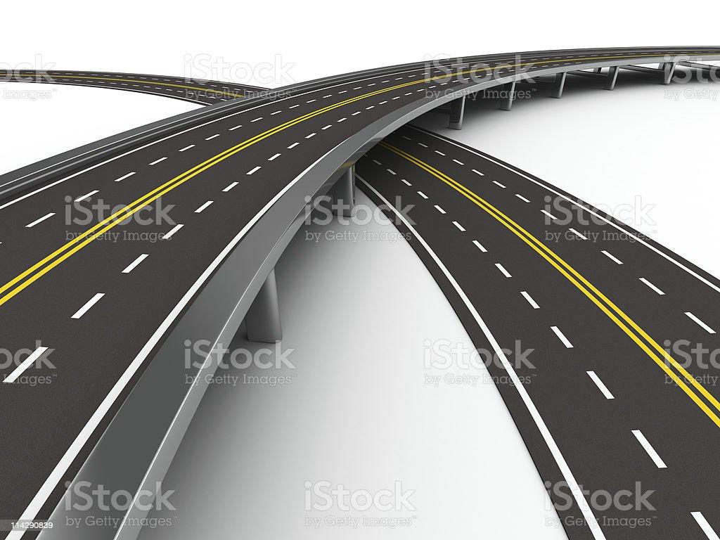 asphalted road にホワイトです。絶縁 3 D 画像 ストックフォト