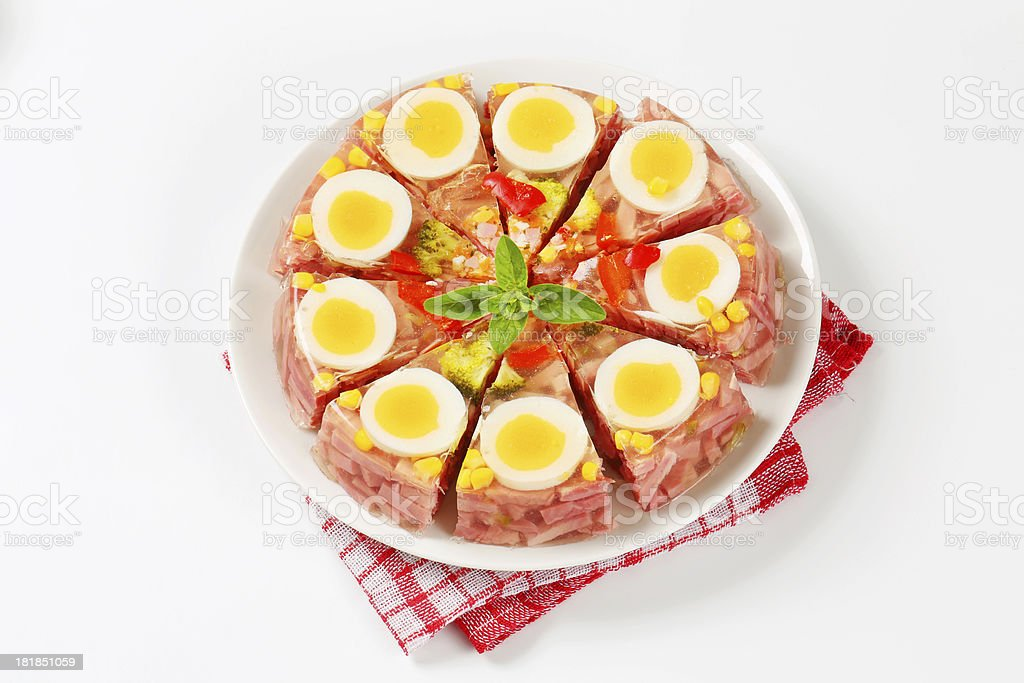 Aspic cake cut into slices royalty-free stock photo