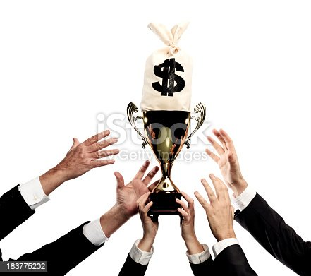 hands reaching for trophy and money bag