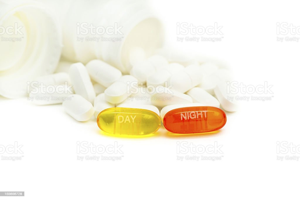 Aspirin day and night stock photo
