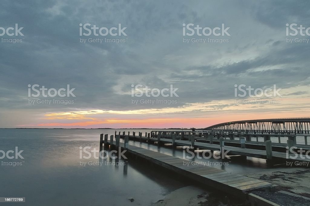Assateague Boat Ramp And Pier stock photo