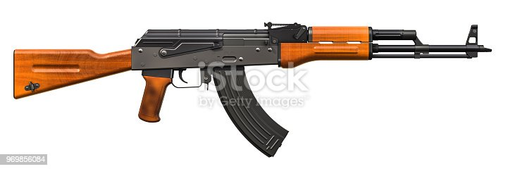 istock Assault rifle, 3D rendering isolated on white background 969856084