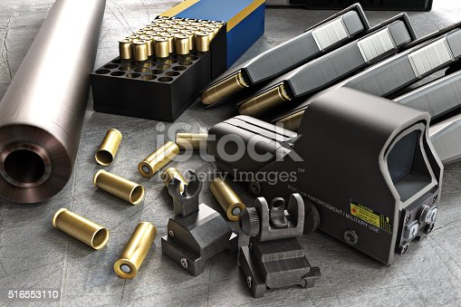 istock Assault rifle accessories collection 516553110