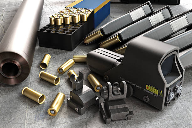 Assault rifle accessories collection stock photo