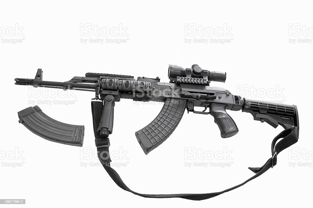 AK-47 assault rifle on a white back ground royalty-free stock photo