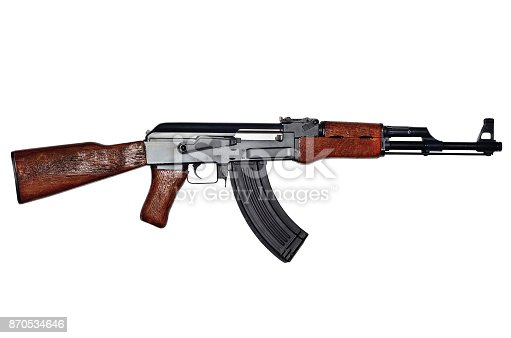 istock Assault rifle on white background 870534646