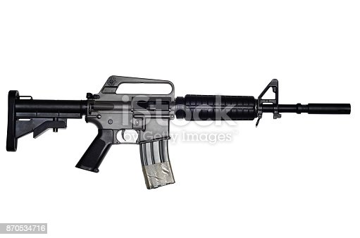 istock Assault rifle on white background 870534716