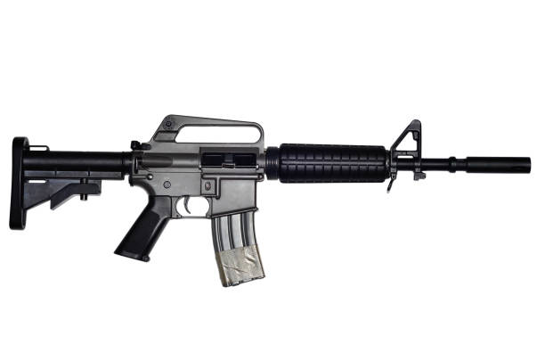 Assault rifle on white background stock photo