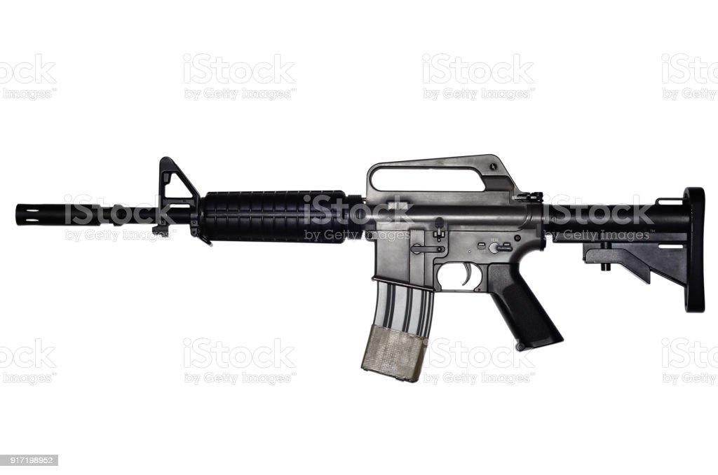 Assault rifle on white background stock photo