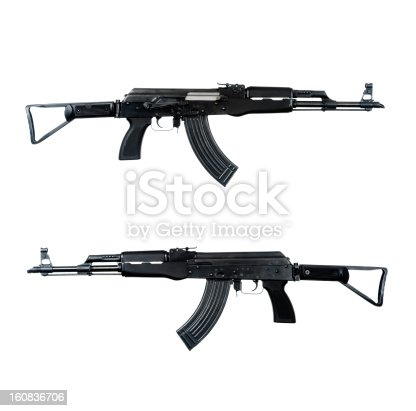 AK-47 assault rifle isolated on white.