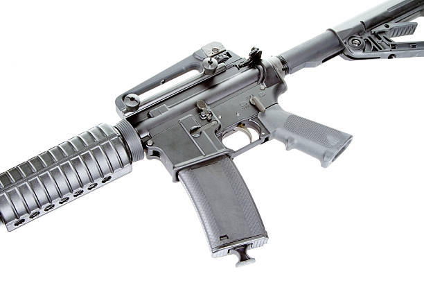Assault Rifle weapon with high capacity magazine ar 15 stock pictures, royalty-free photos & images