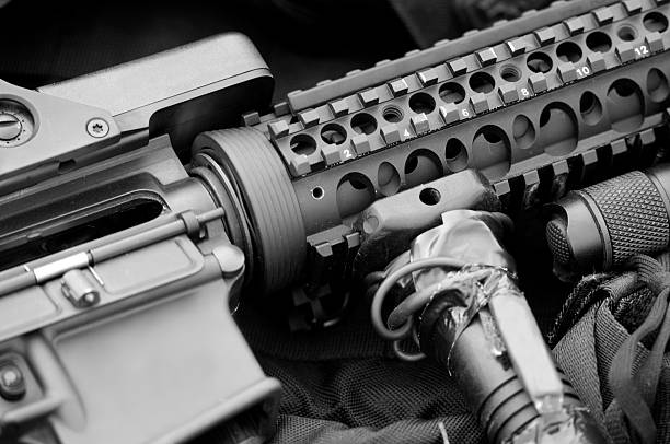 AR-15 Assault Rifle Detail of AR-15 assault rifle (civilian version of M-16) at a police SWAT training exercise. ar 15 stock pictures, royalty-free photos & images
