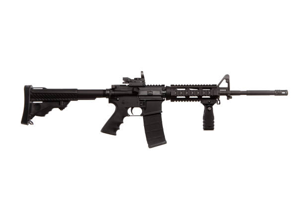 AR-15 Assault Rifle AR-15 Assault rifle isolated on a white background. ar 15 stock pictures, royalty-free photos & images