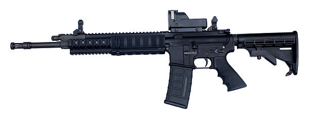 Assault rifle weapon with white background semi automatic rifle known as an AR-15 chambered in .223 ar 15 stock pictures, royalty-free photos & images