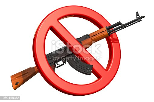istock Assault rifle with forbidden sign, 3D rendering isolated on white background 970445388
