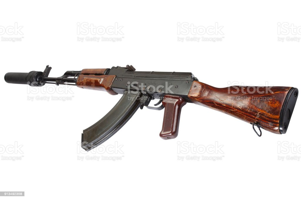 Ak 47 Assault Rifle With Sound Suppressor Stock Photo & More ...