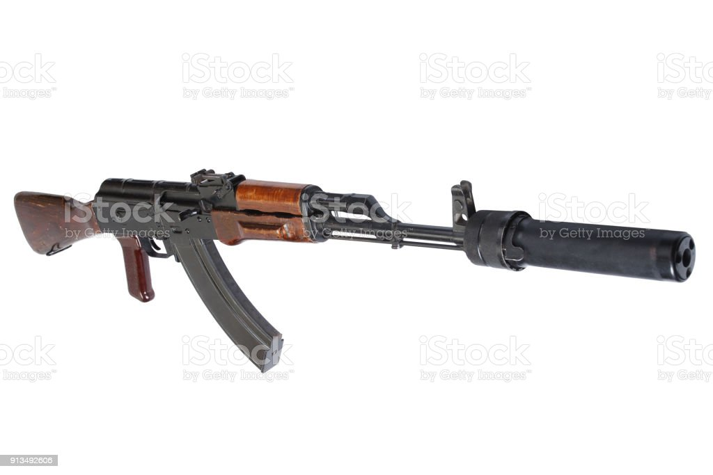Ak 47 Assault Rifle With Sound Suppressor Stock Photo More