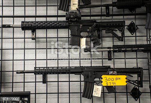 istock Assault Rifles on the wall for sale in America 923173002