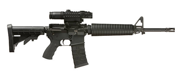 AR-15 Assault Weapon AR-15 Assault Weapon. This stock image has a horizontal composition, and is isolated on white. ar 15 stock pictures, royalty-free photos & images